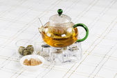 Green Tea in Glass Pot — Stock Photo