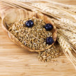 Stock Photo: Natural Whole Grain Cereal in Wooden Spoon
