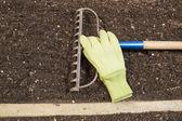Garden Rake and Gloves lying on Soil — Stock Photo