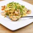 Pasta dish with Shrimp in Fork — Stock Photo #24128249