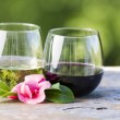 Red and White Wine with Pink Flower outdoors — Stock Photo #24793391
