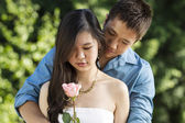 Young Adult woman gets surprise for her lover — 图库照片