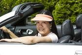 Mature woman having fun in Convertible Car — Stock Photo