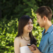 Young Adult happy after proposal for marriage - Stockfoto