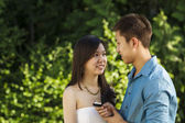 Young Adult happy after proposal for marriage — Stockfoto