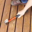 Постер, плакат: Female hand adjusting wooden cedar boards on outdoor deck