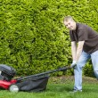 Mature man getting ready to do yard work  — Stock Photo