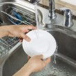 Woman hands washing dinner plate in kitchen sink — Stock Photo #26441921