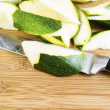 Zucchini Slices on Cutting board with Large Knife — Stock Photo