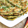 Stacked Korean Green Onion Pancakes Ready to Eat — Stock Photo