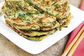 Stacked Korean Green Onion Pancakes Ready to Eat — Stock Photo