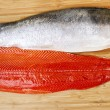 Fresh Red Salmon Fillets on Bambbo Board — Stock Photo
