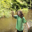 Stock Photo: Young Girl Catches Small Trout