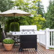 Stock Photo: Large Outdoor Cooker on Cedar Deck