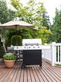 Large Outdoor Cooker on Cedar Deck — Stock Photo