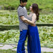 Lovers at the Pond — Stock Photo