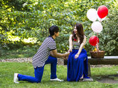 Young Adult Man Proposing to his Lady — Stock Photo