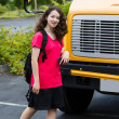 Young Girl Student Leaving School Bus — Stock Photo