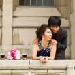 Lovers watching from thier balcony — Stock Photo