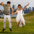 Young Couple Having fun Outdoors — Stock Photo