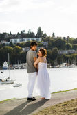Lovers Wandering on the Water Path — Stock Photo