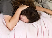 Young Girl Tired in Morning — Stock Photo
