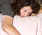 Young Girl Tying to Wake up in the Morning — Stock Photo