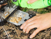 Removing bread crumbs from Kitchen Tray Toaster — Stock Photo