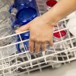 Closing Dishwasher rack filled with Glassware — Foto de Stock