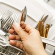 Checking for Cleanliness of Silverware from Dishwasher — Stock Photo