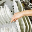 Loading dinner plates into the lower dish rack of dishwasher — Stock Photo #32547121
