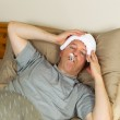 Sick Mature Man with Fever — Stock Photo