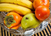 Variety of Fresh fruit in Large Glass Bowl — Stock Photo