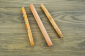 Bread Rollers on Aged White Ash Boards — Stock Photo