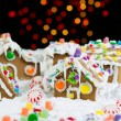 Night Time Lights behind Gingerbreadh Houses during the Holidays — Stock Photo