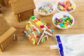 Gingerbread Houses being Made — Stock Photo