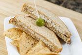 Tuna fish sandwich and Chips — Stock Photo