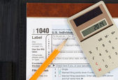 Items for doing Income Taxes — Stock Photo