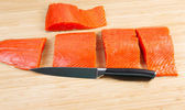 Wild Salmon Cut in Pieces for Cooking — Stok fotoğraf