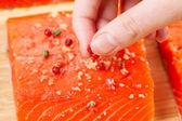 Peppercorns on Wild Salmon — Стоковое фото