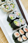 Handmade Sushi in Plate ready to eat — Stock Photo