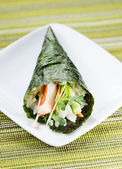 Individual Sushi Cone in Small White Plate — Stock Photo