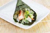 Single Sushi Cone on White Plate — Stock Photo