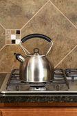 Stainless Steel Tea Pot on Range  — Stock Photo