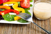 Fresh Salad and Dressing with Fork  — Stock Photo
