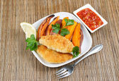 Fish and Chips with Sauce on the side — Stock Photo