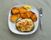 Baked Fish and Yam Slices  — Stock Photo