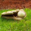 Old Baseball inside Used Glove on ground  — Stock Photo #45724789