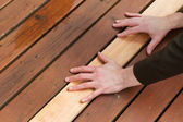 Replacing Cedars Boards on Deck — Stock Photo