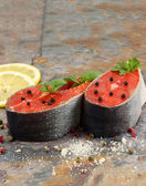 Fresh Raw Salmon Steaks ready for cooking  — Foto de Stock